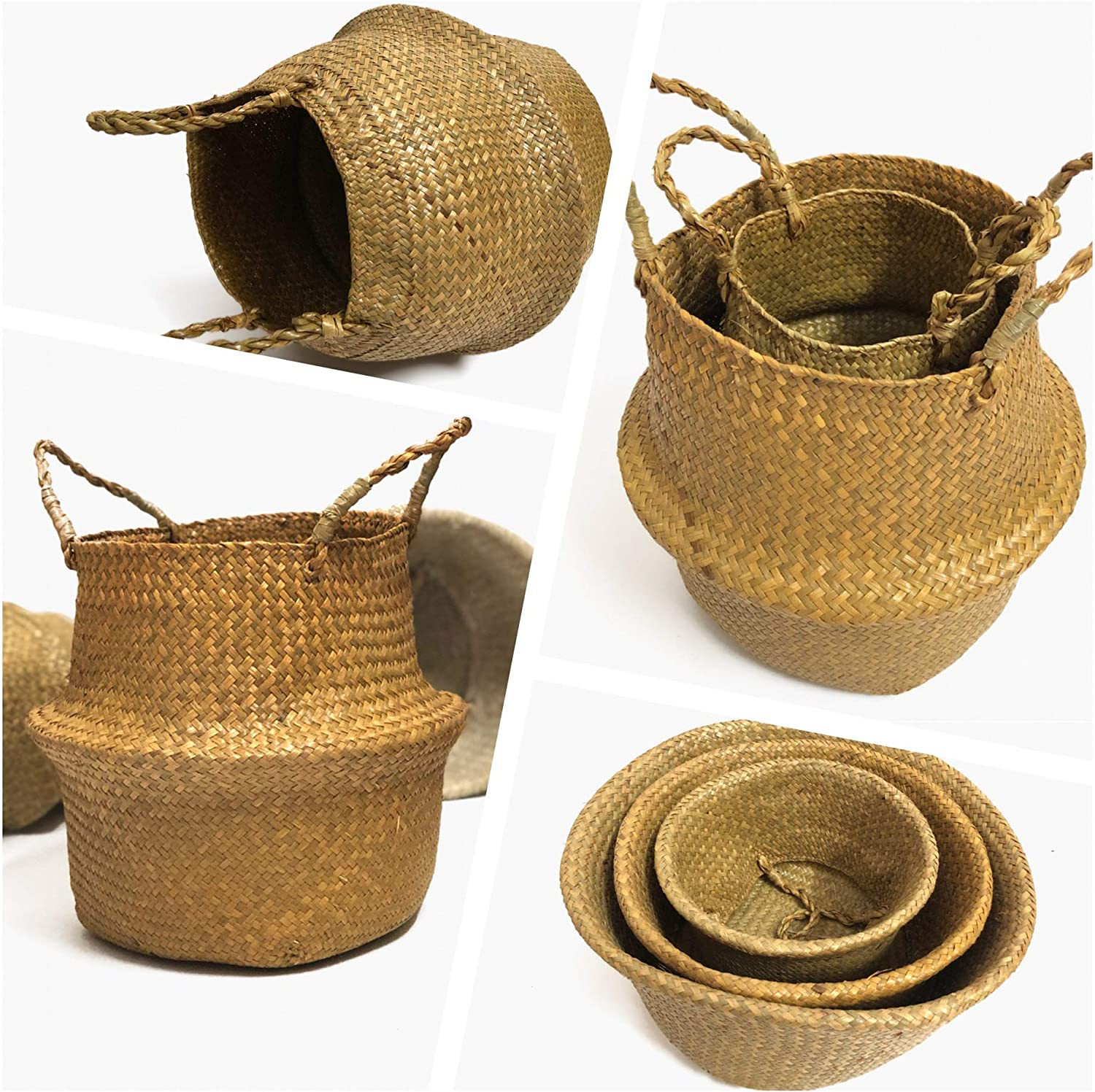 14.9 * 13.3 L Plant Tray Baskets and Picnic Baskets Laundry Baskets Hand-Woven Pot-Belly Basket with Natural Seagrass for Indoor Storage of Groceries and Toys