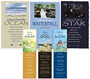 Advice from Nature Bookmark & Art Card Favorites Set- 3 Bookmarks: Dog, Bluebird, Daisy - 3 Art Cards: Waterfall, Ocean, Star by Your True Nature