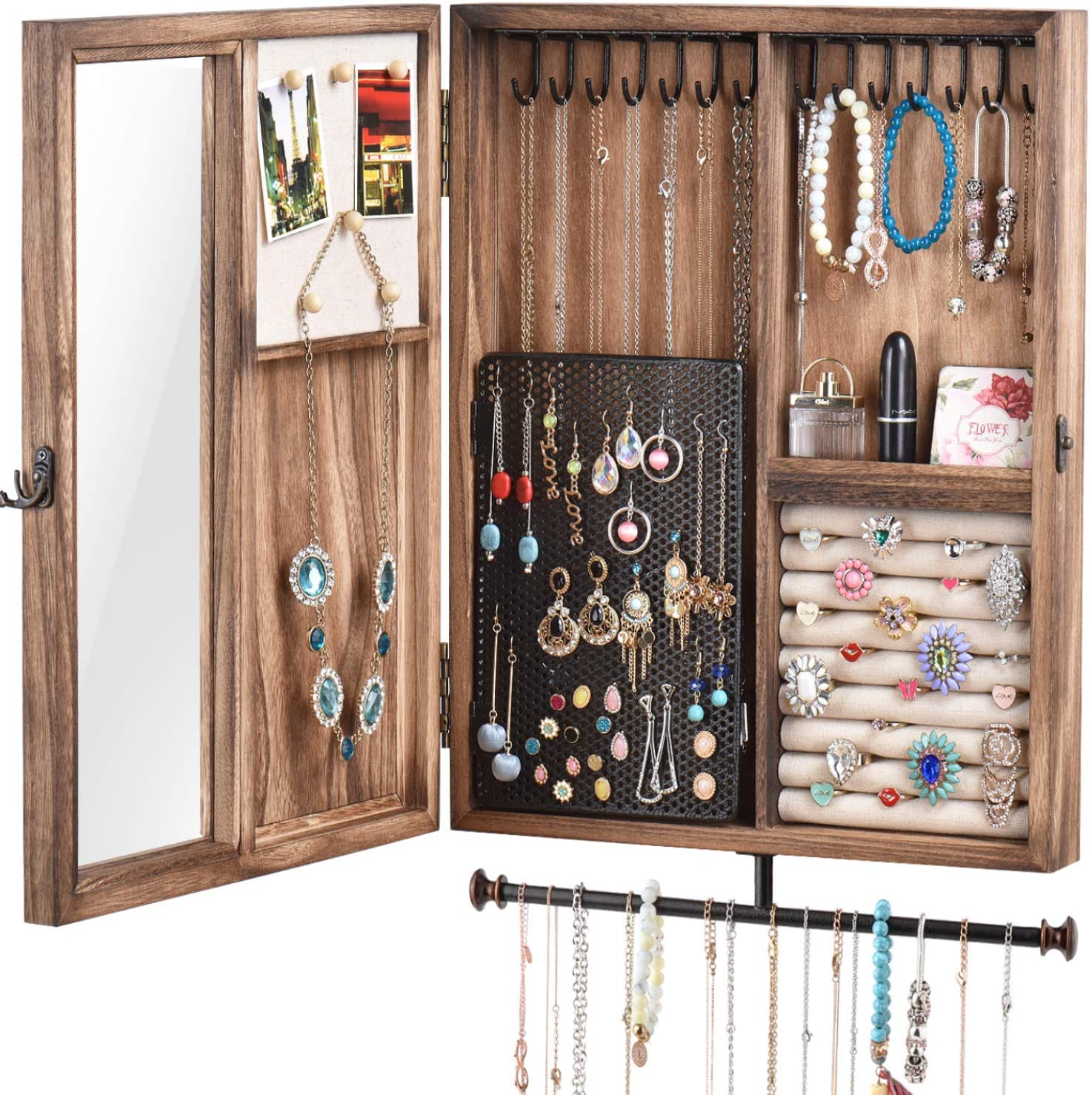 Amazon Com Keebofly Wall Mounted Jewelry Organizer Box Rustic Wood Large Space Cabinet Holder For Necklaces Earrings Bracelets Ring And Accessories Carbonized Black Home Improvement