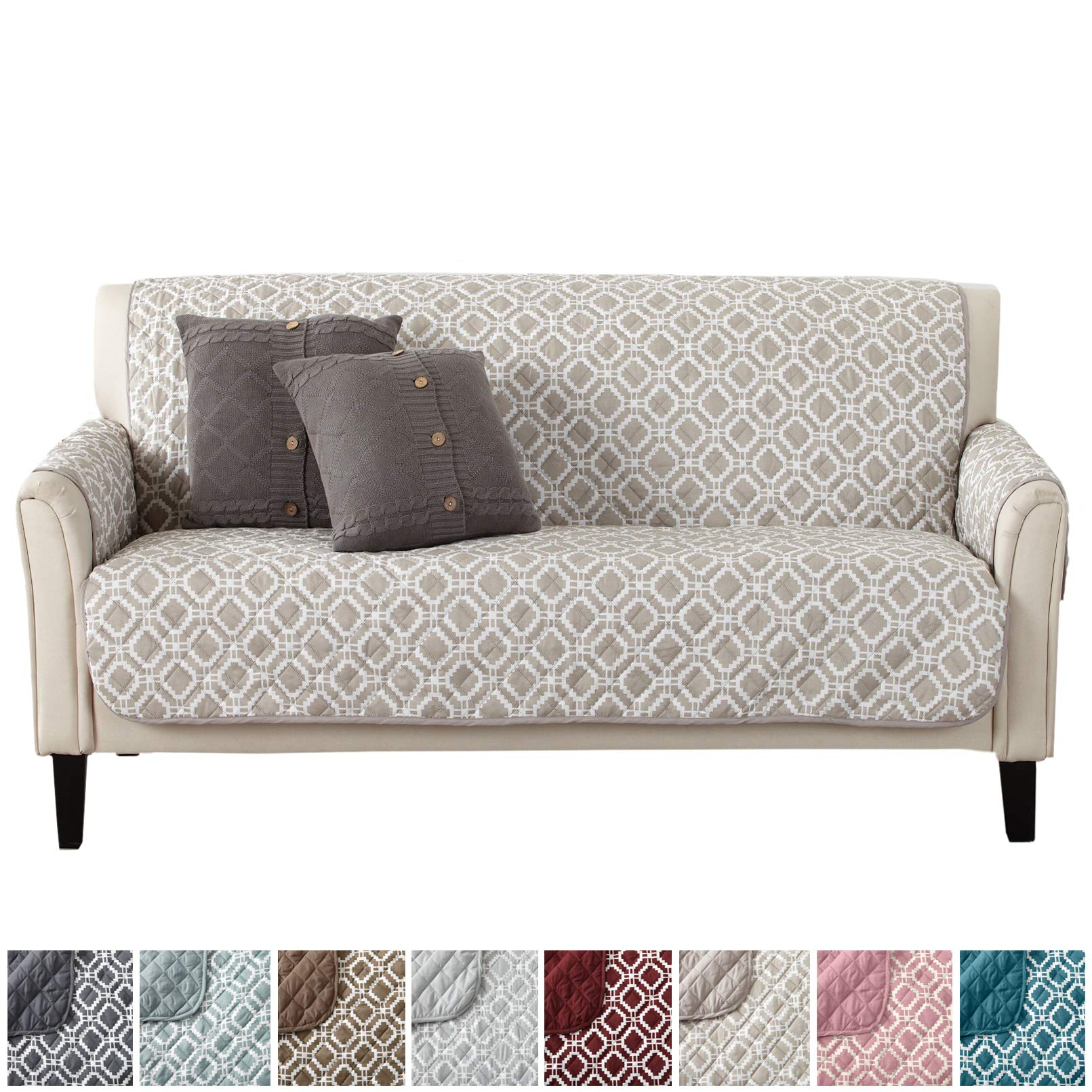 Modern Printed Reversible Stain Resistant Furniture Protector with Geometric Design. Perfect Cover for Pets and Kids. Adjustable Elastic Straps Included. Liliana Collection (Sofa, Silver Cloud) by Great Bay Home