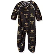 Outerstuff NFL Infant Saints Sleepwear All Over Print Zip Up Coverall, 18 Months, Black