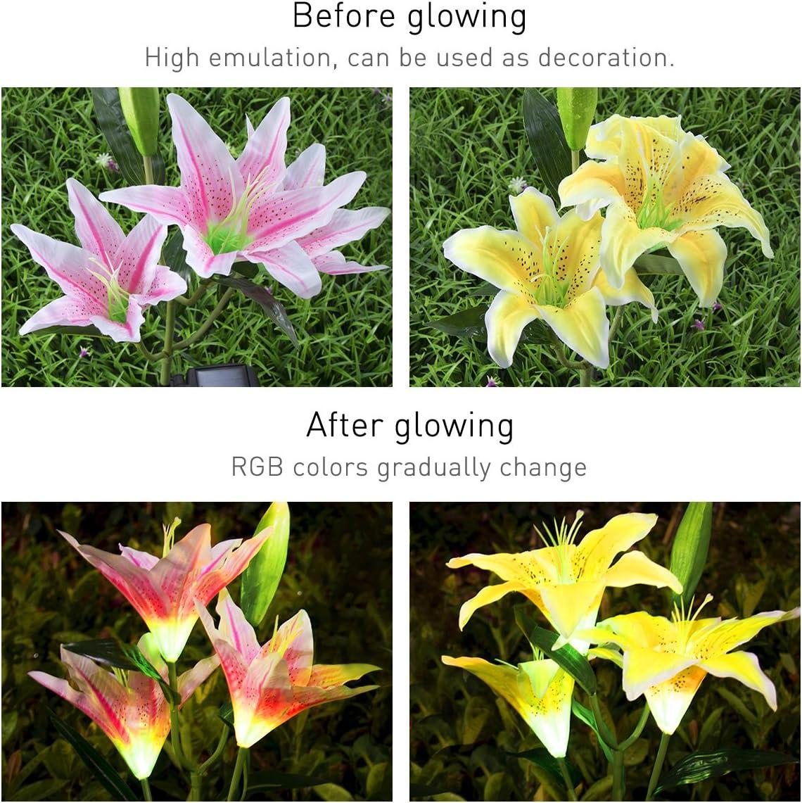 Solar Garden Lights, Solar Garden Light Lily Flower Decorative Lights Solar String Lights Decor 2Pcs for Yard Lawn