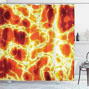 Ambesonne Burnt Orange Shower Curtain, Hot Lava Texture Bursting Volcanic Heated Magma Image Warm Colored, Cloth Fabric Bathroom Decor Set with Hooks, 84