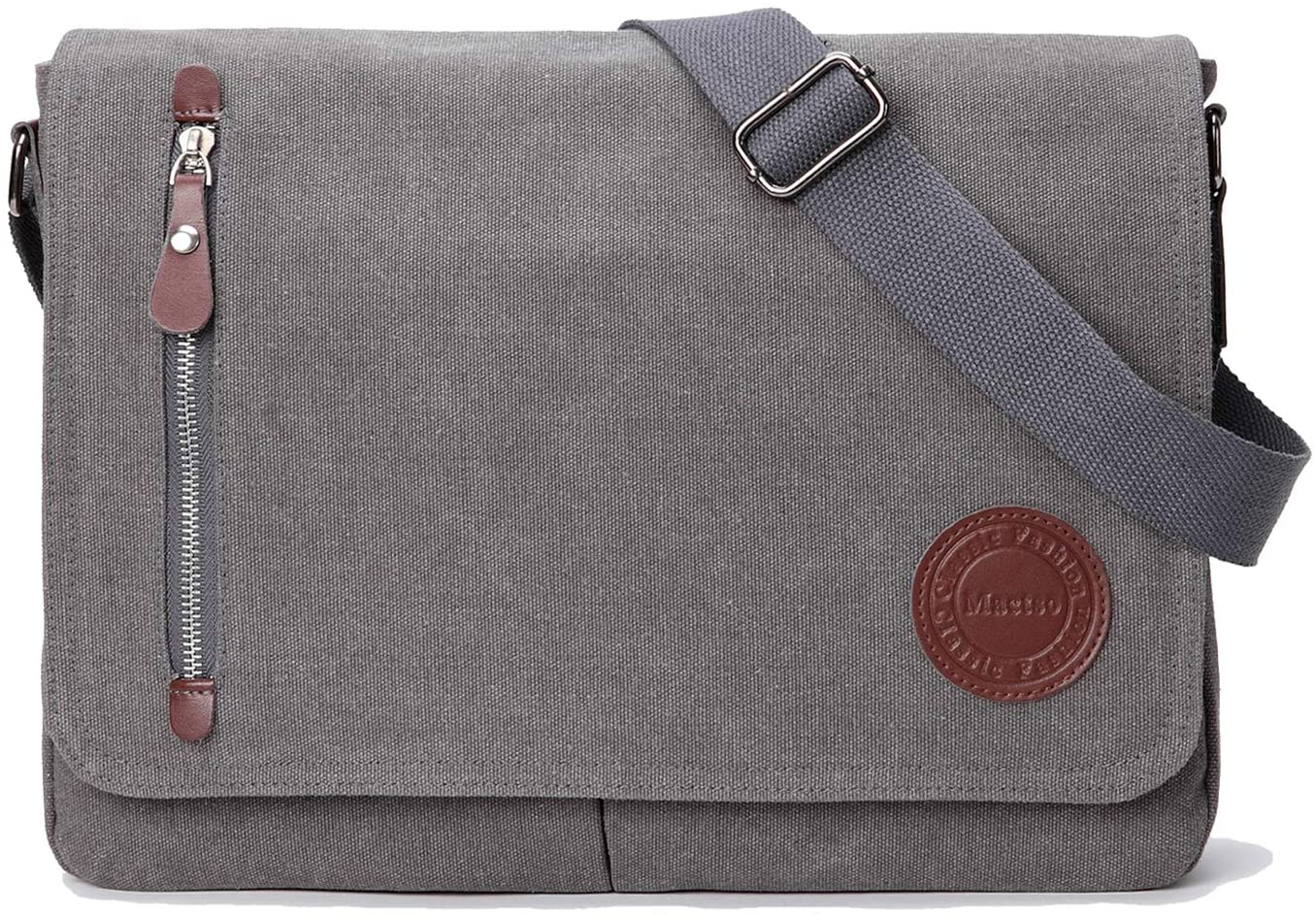 "Vintage Canvas Satchel Messenger Bag for Men Women,Travel Shoulder bag 13.5"" Laptop Bags Bookbag (Grey)"