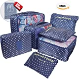 7 Set Packing Cubes Luggage Organizers Clothes Storage- 3 Mesh Bags+ 3 Pouches+ 1 Toiletry Bag- Round Dot Pattern (Navy Circle)