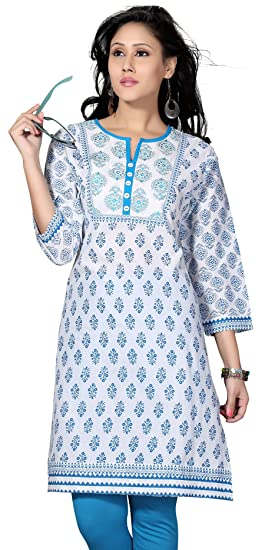 567c48f218dd Indian Long Cotton Tunics Kurti Top Blouse Womens India Apparel (White