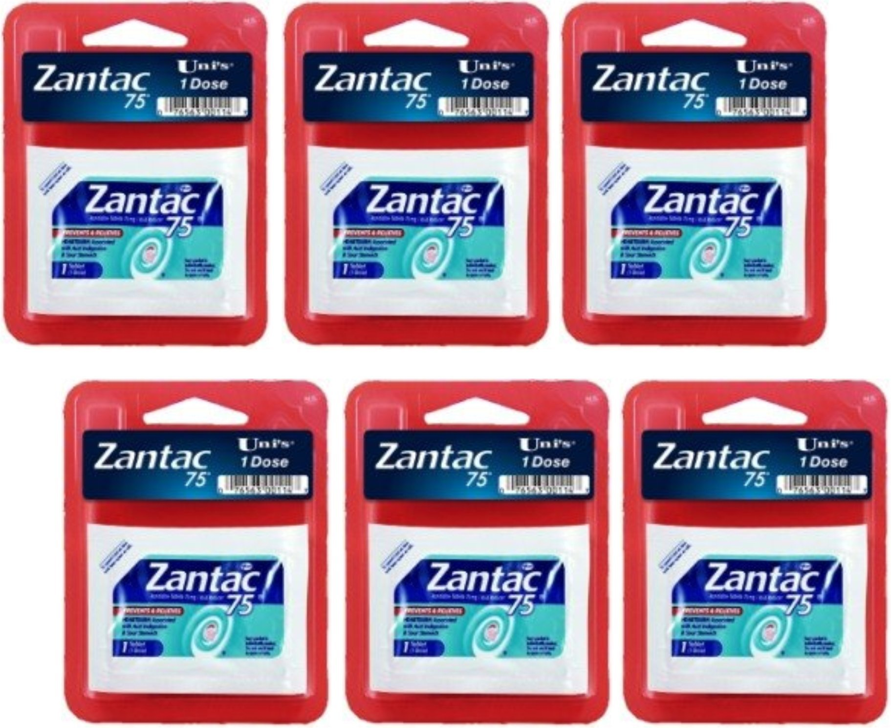 Zantac 6 PK (2 Caplets Per Sleeve) Perfect for Travel and On-The-Go! Individual Doses to Help Relieve Heartburn Fast!