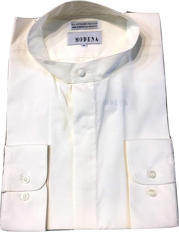 Modena Big and Tall Banded Mandarin Collar Colored Dress Shirts
