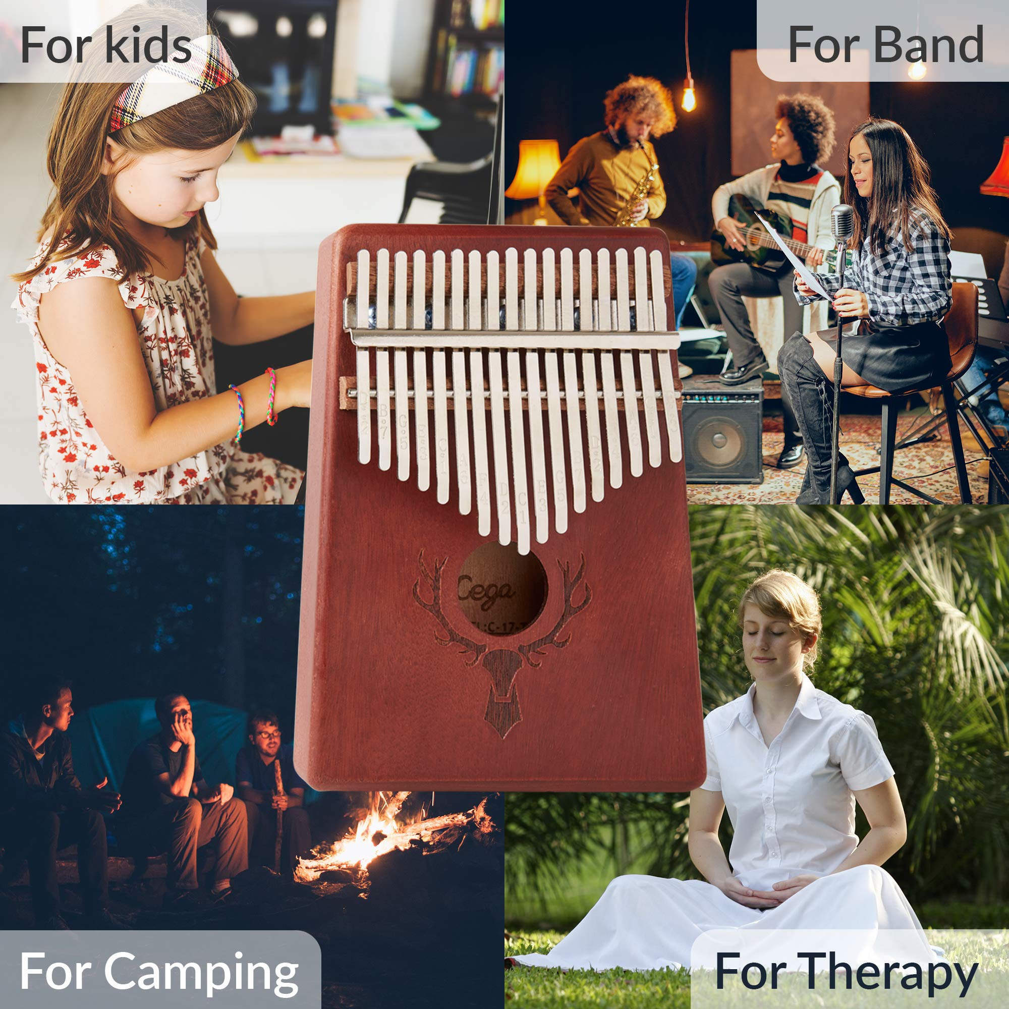 TimberTunes 17 Key Kalimba Thumb Finger Piano Therapy Musical Instrument for Adults Children, Solid Mahogany Wood, Engraved Elk Antler,Tuning Hammer and Music Book, Engraved Keys, Velvet Case, Unique by Timbertunes (Image #3)