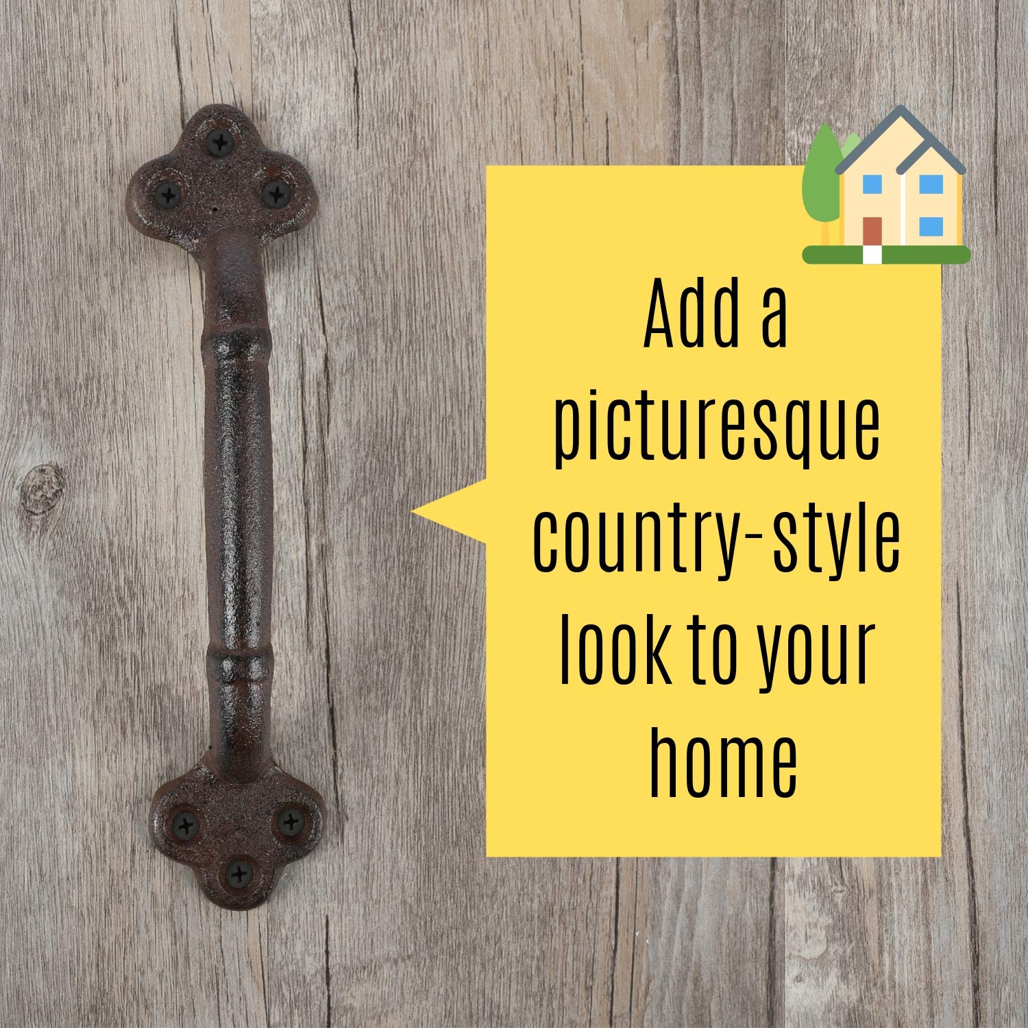 """Cast Iron Antique Shed Pull Farm Sliding Doors Exterior Rustic Handles 1.5/"""" x 2/"""" Base Gate Hardware 8.75/"""" L Trunk For Garage 2 Pack Crate Wooden Fence Houseables Barn Door Handle Chest"""