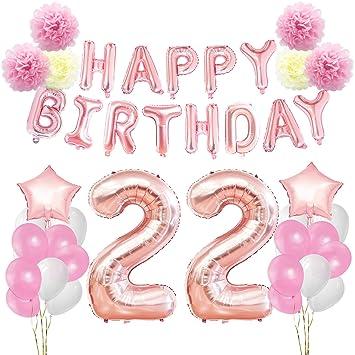 KUNGYO Decoraciones de Feliz Cumpleaños 22 Oro Rosa Happy Birthday Bandera - Gigante Número 22 Helio Globos, Cintas, Flores de Papel Pom, Globos de ...