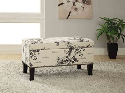 FurnitureMaxx Stephanie Botanical Linen Storage Ottoman