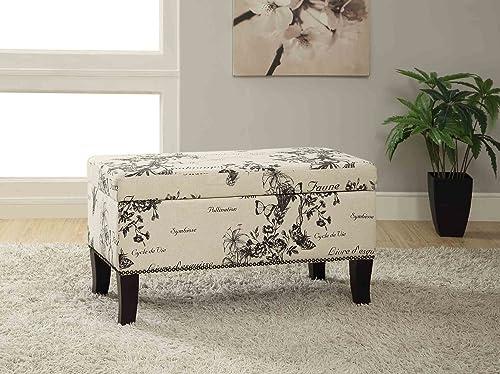 FurnitureMaxx Stephanie Botanical Linen Storage Ottoman