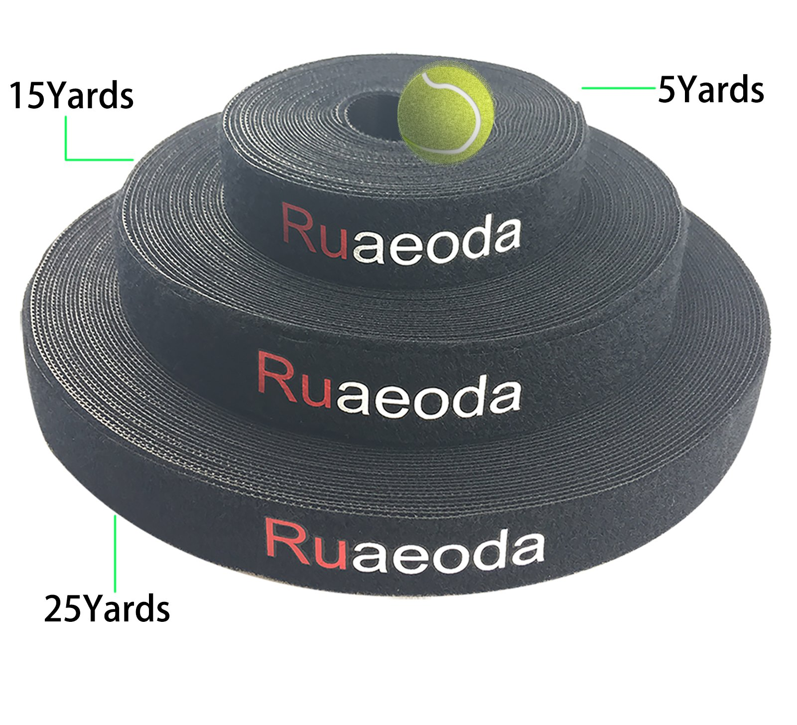 Cable Management Ruaeoda Fastening Tape Cable Tie 25 Yards Reusable Double Side Nylon Strap Power Wire Management 1 Roll Hook(25 Meter/80 Feet)