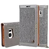 """Samsung Galaxy S7 5,1"""" Leder Hülle Flip Case Handytasche und Brieftasche mit Standfunktion Kredit Karten Fach mit Unsichtbarem Magnet,Grau"""