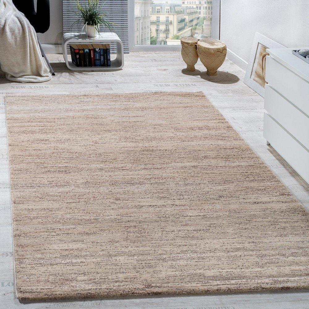Paco Home Teppich Modern Wohnzimmer Kurzflor Gemütlich Preiswert Meliert in Creme, Grösse 200x280 cm