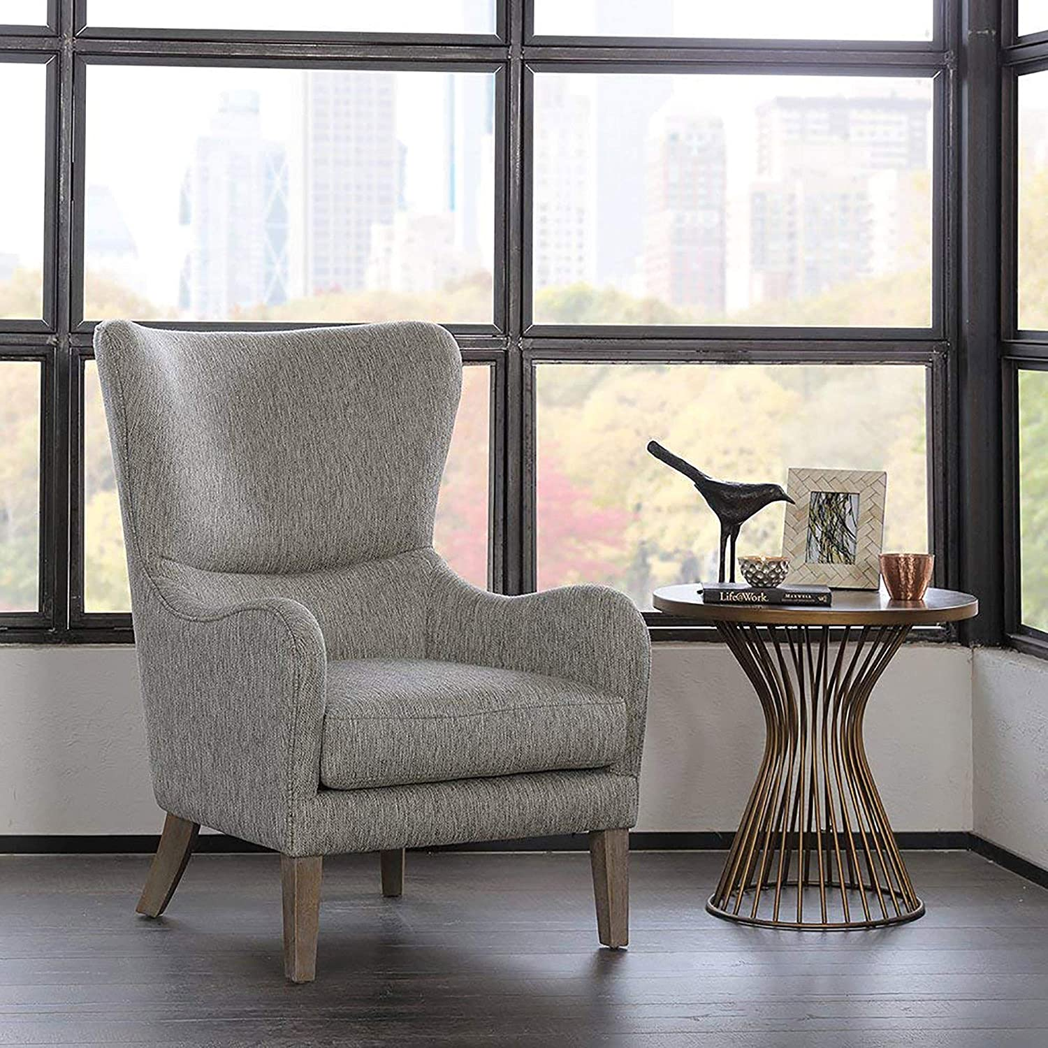 Madison park arianna accent chairs hardwood faux linen living room chairs grey modern contemporary style living room sofa furniture 1 piece swoop