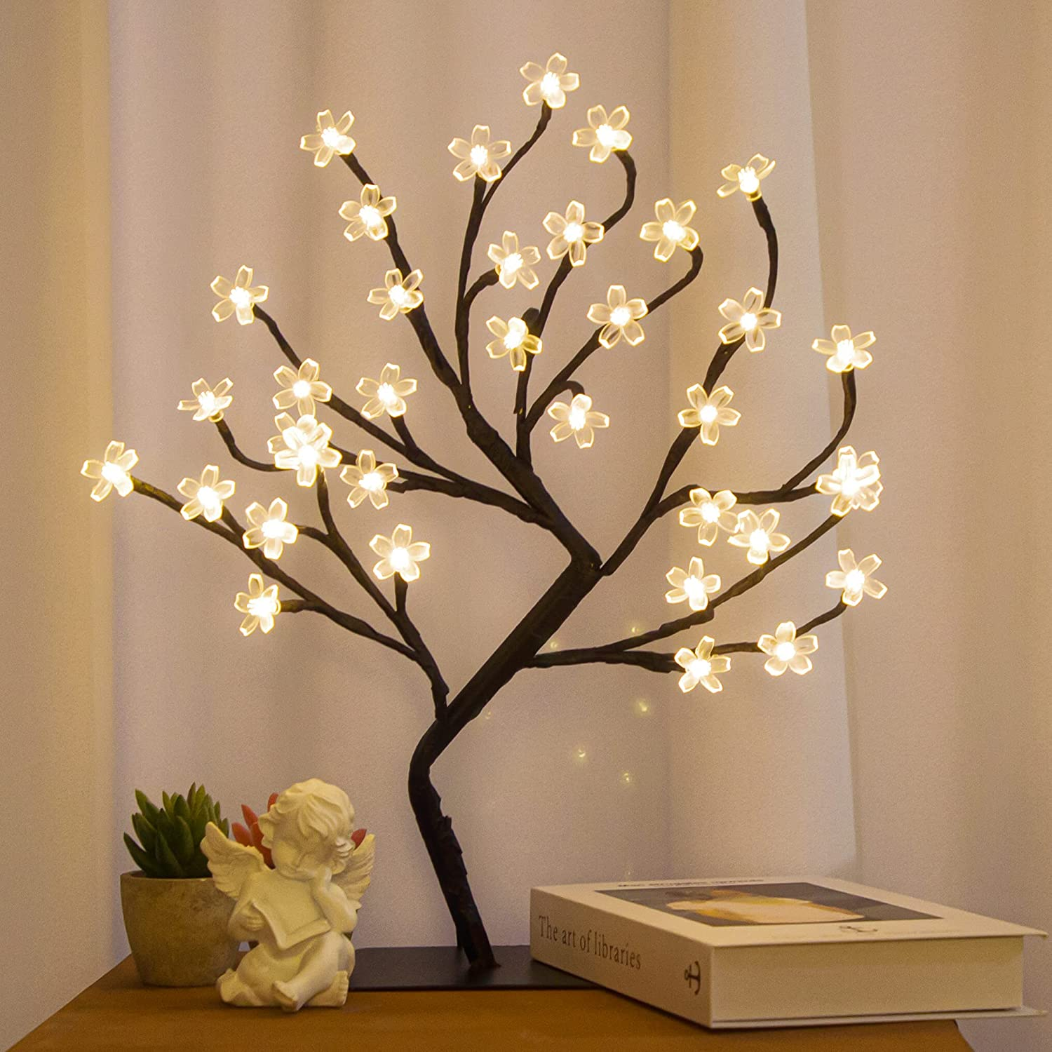 Brightdeco LED Lighted Tree Artificial Tree Ideal As Night Lights Décor for Indoor/Outdoor Perfect for Home Festival Easter Thanksgiving Christmas Wedding Party Warm White 1.5FT 36LED