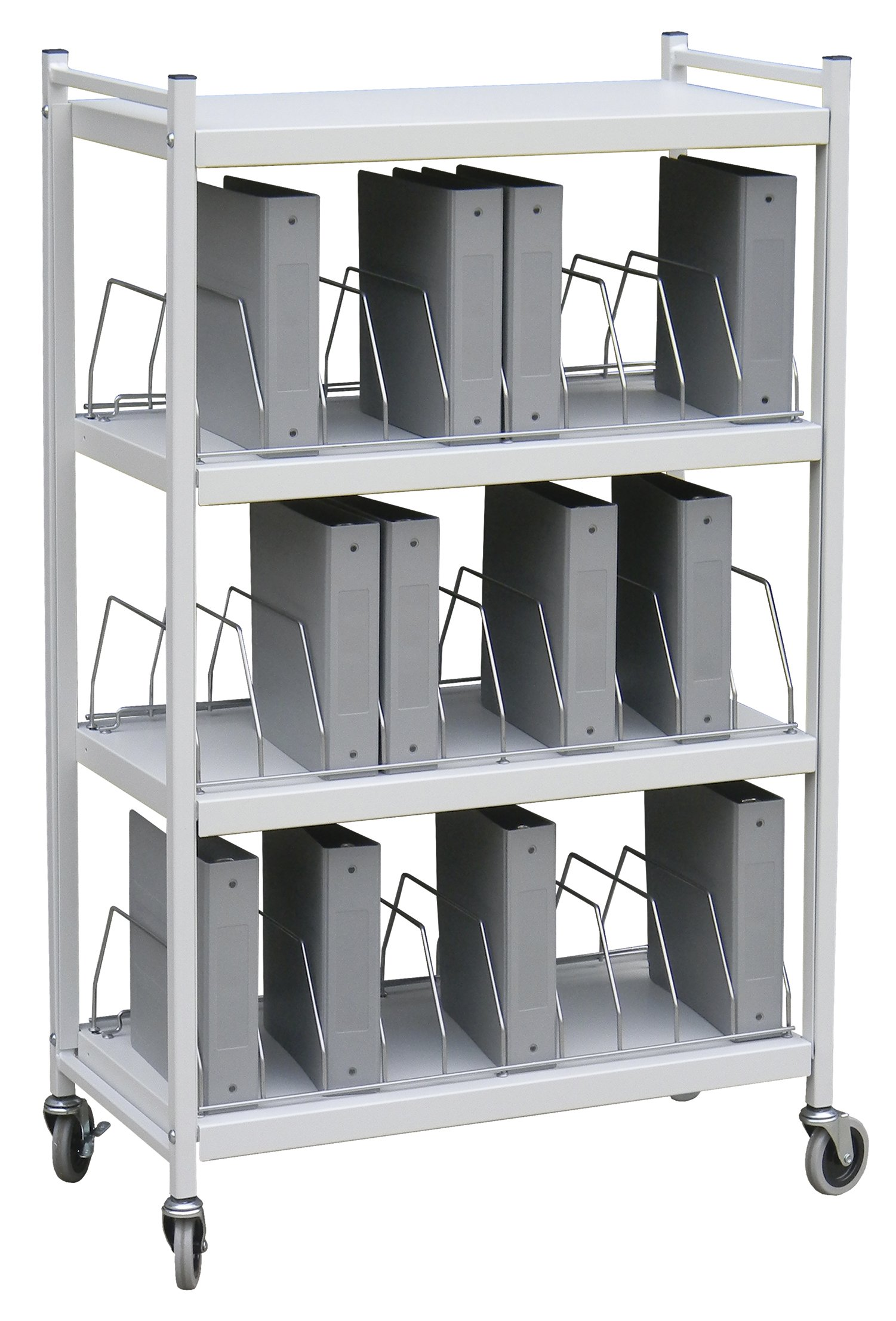 Standard Vertical Open Chart Rack 4 Shelves 30 Binder Capacity (Light Gray)
