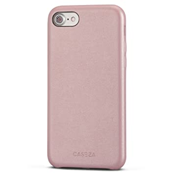 CASEZA Funda iPhone 8 / Funda iPhone 7 Rosa Oro Rome Piel PU Case Cover Carcasa Tapa Trasera Piel Vegana Premium para Apple iPhone 8 & 7 (4.7