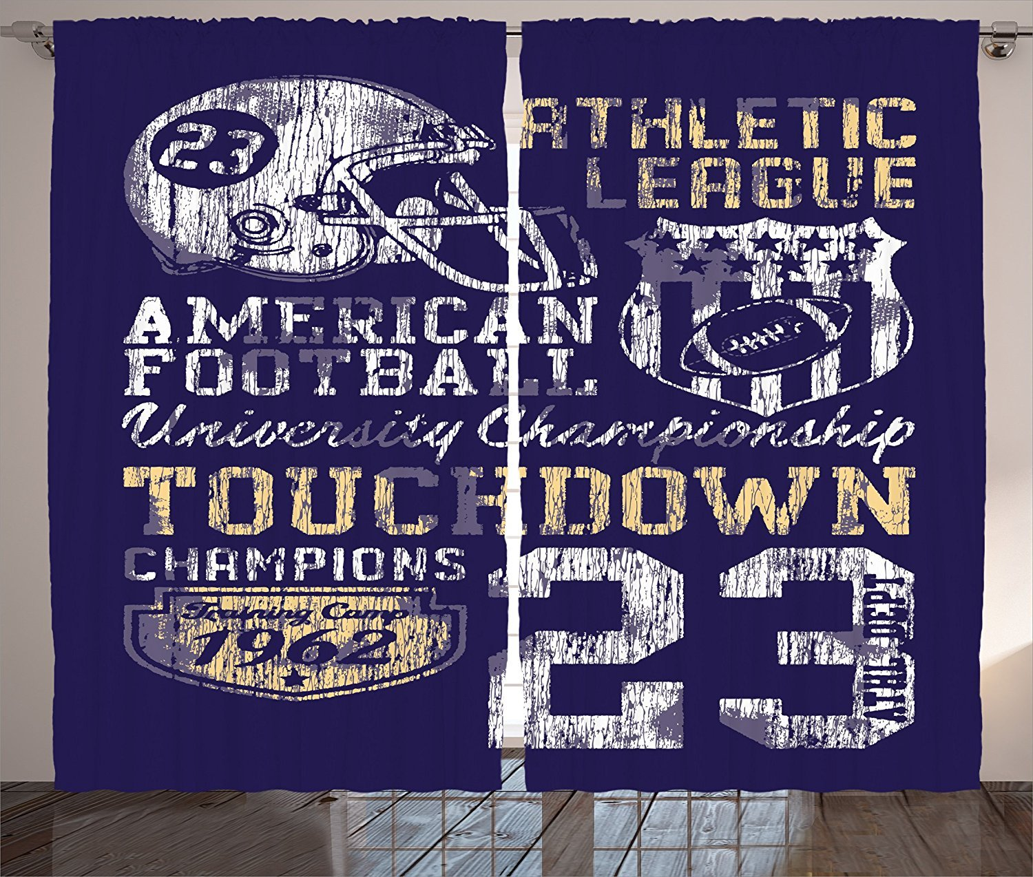 Sports Decor Curtains Retro American Football College Version Illustration Athletic Championship Apparel Living Room Bedroom Decor 2 Panel Set Blue White Yellow