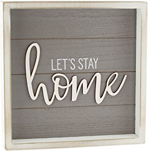 AuldHome Rustic Home Sign, Let's Stay Home (Gray), 10 x 10 Framed Wood Plaque with Farmhouse Style Shiplap