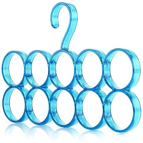 Hangerworld 1 Percha de Plástico para Pañuelos Bufandas Accesorios 10 Amplios Espacios Azul Armario