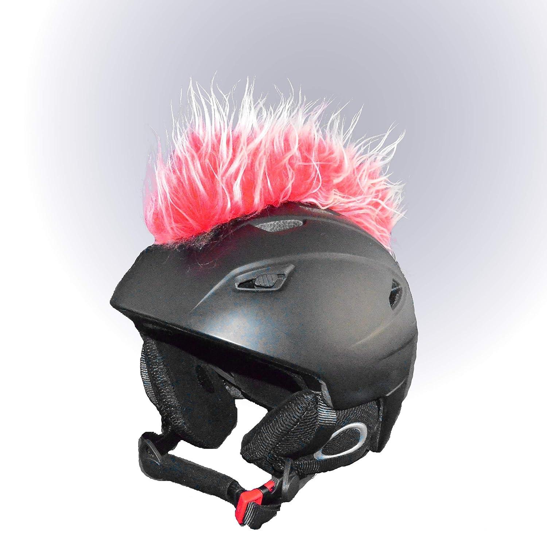 Helm-Irokese für den Skihelm, Snowboardhelm, Kinderskihelm, Kinderhelm, Motorradhelm oder Fahrradhelm - Iro-Helmcover - für Kinder und Erwachsene HELMDEKO (Rot Hellgrau)