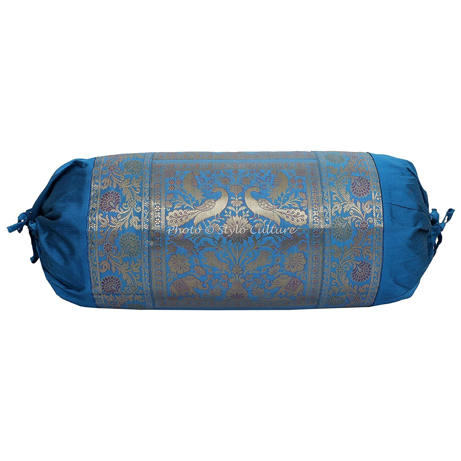 Stylo Culture Traditional Polydupion Cylindrical Yoga Bolster Pillow Cover Blue Elephant Jacquard Brocade Border Large Sofa Round Cylinder Cushion ...