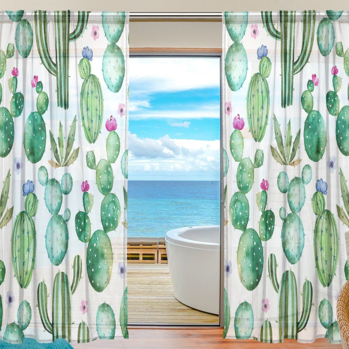 SEULIFE Window Sheer Curtain, Tropical Cactus Tree Flower Voile Curtain Drapes for Door Kitchen Living Room Bedroom 55x78 inches 2 Panels g3221957p112c126s167