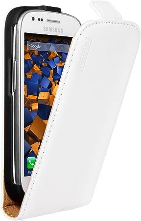 Mumbi - Funda de cuero con tapa para Samsung Galaxy S3 mini, color blanco: Amazon.es: Electrónica