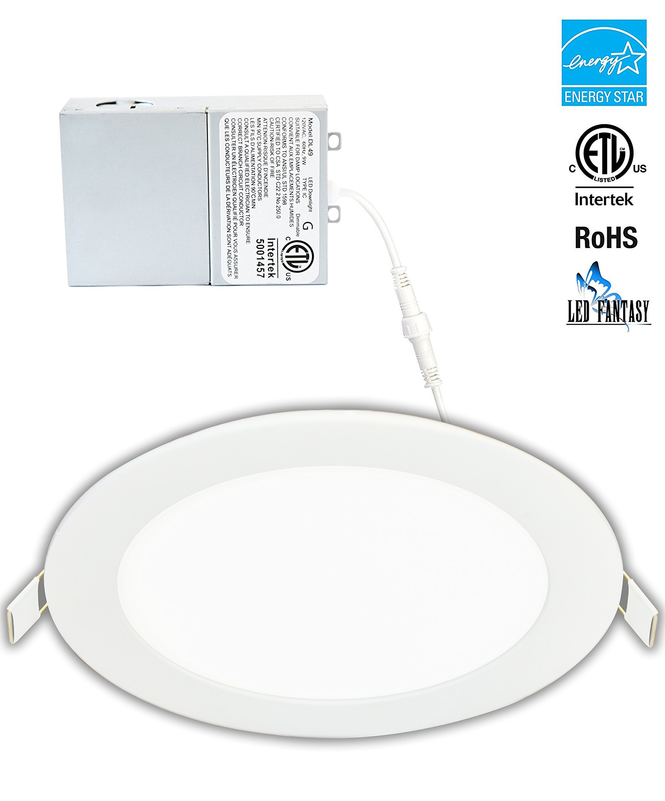 LED Fantasy 6-inch 15W 120V Recessed Ultra Thin Ceiling LED Light Retrofit Downlight Wafer Panel Slim IC Rated ETL Energy Star 1000 Lumens (Daylight 5000k, 1 Pack)