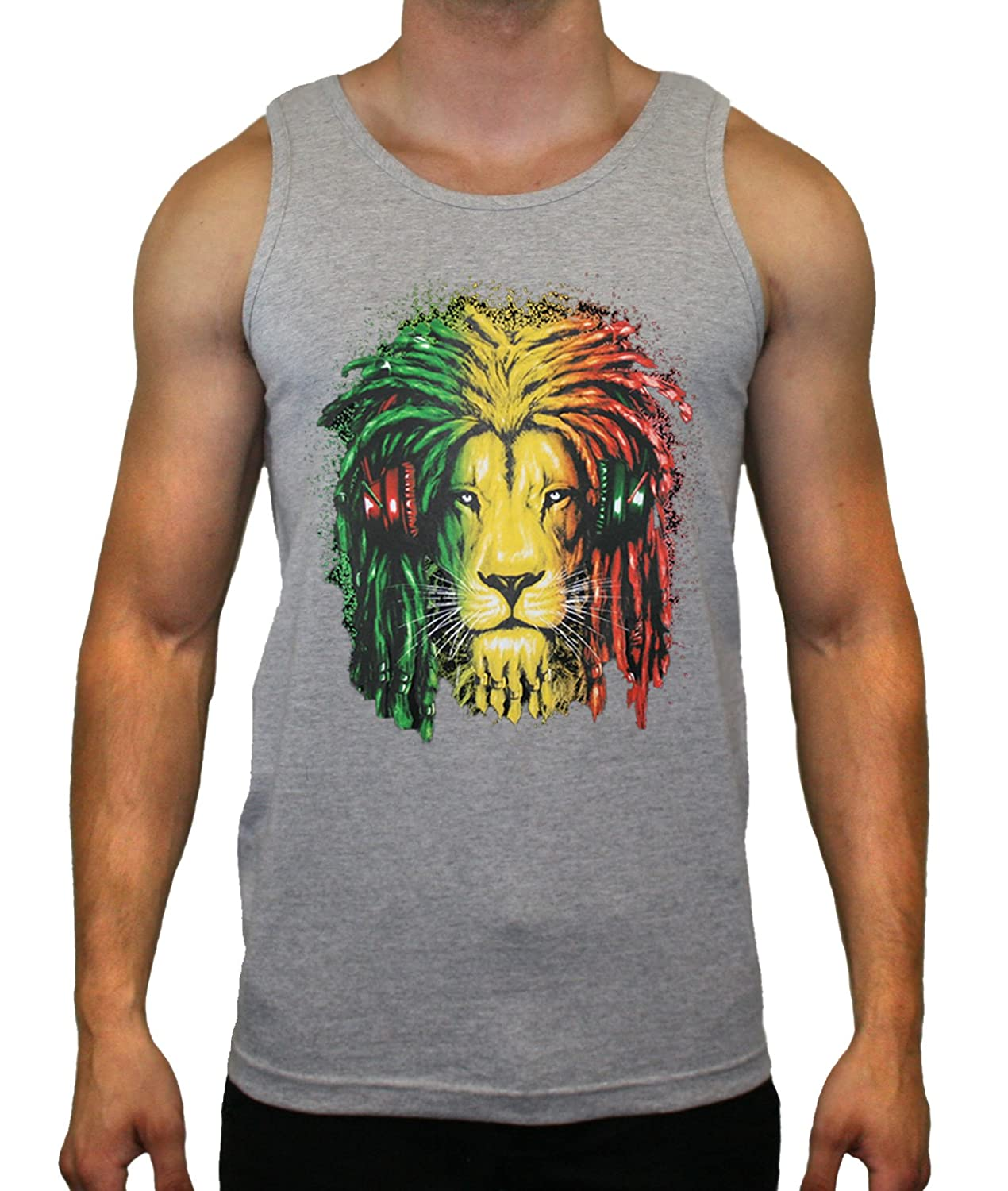 Qualifornia Rasta Lion Designs Tank Top for Man