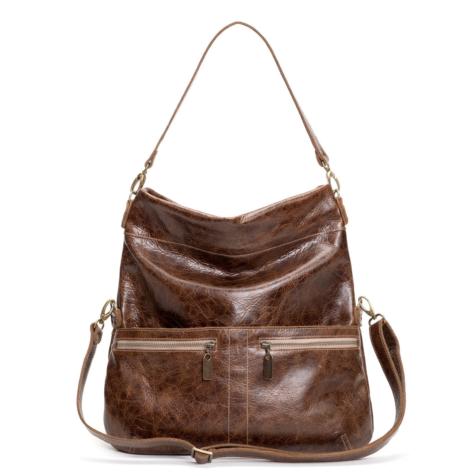 Brown Large Distressed Leather Handbag