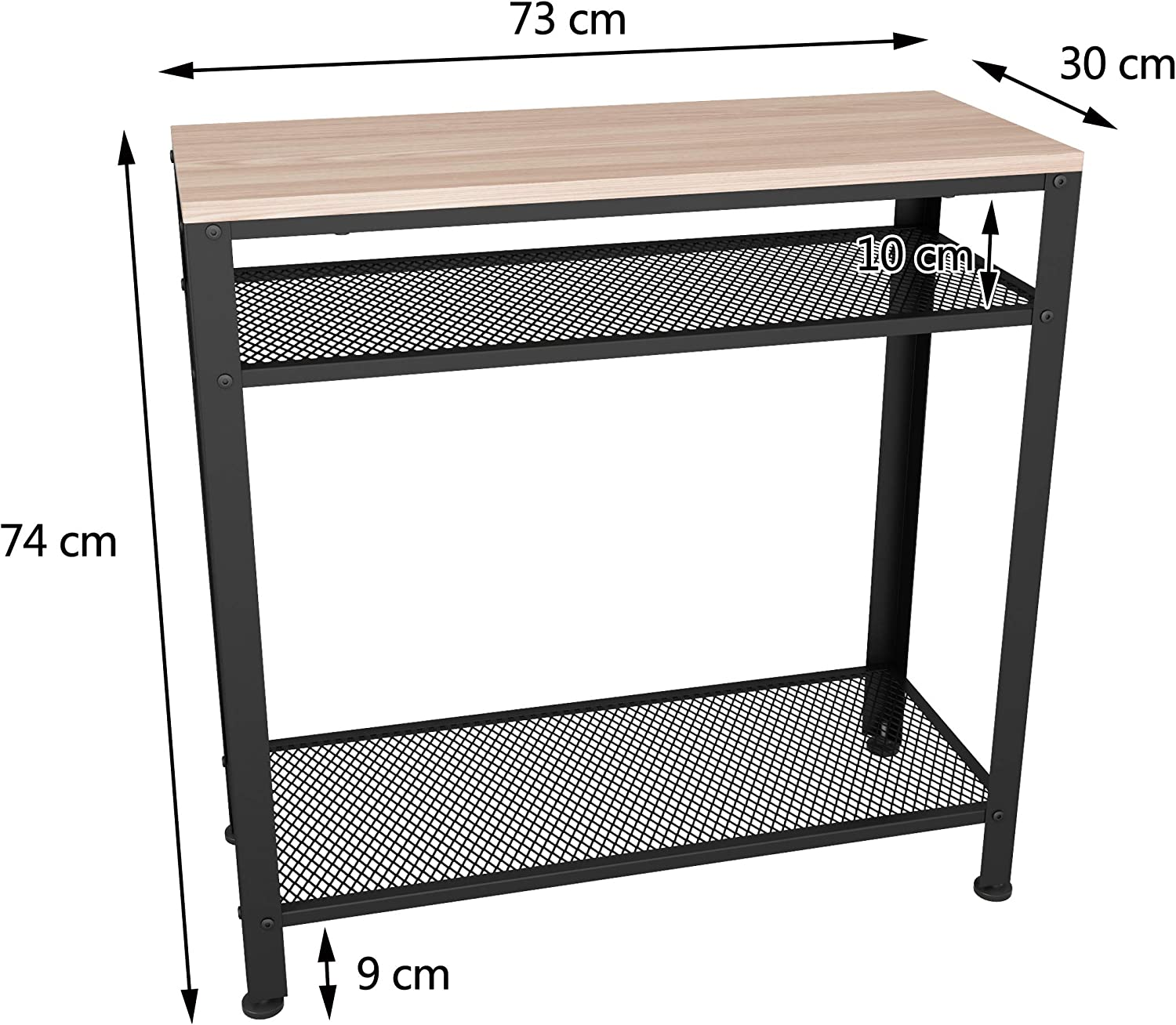 Industrial Sofa Table with Mesh Storage Shelves for Small Spaces White Oak Finish Narrow Foyer JOISCOPE Console Table Entryway Hallway