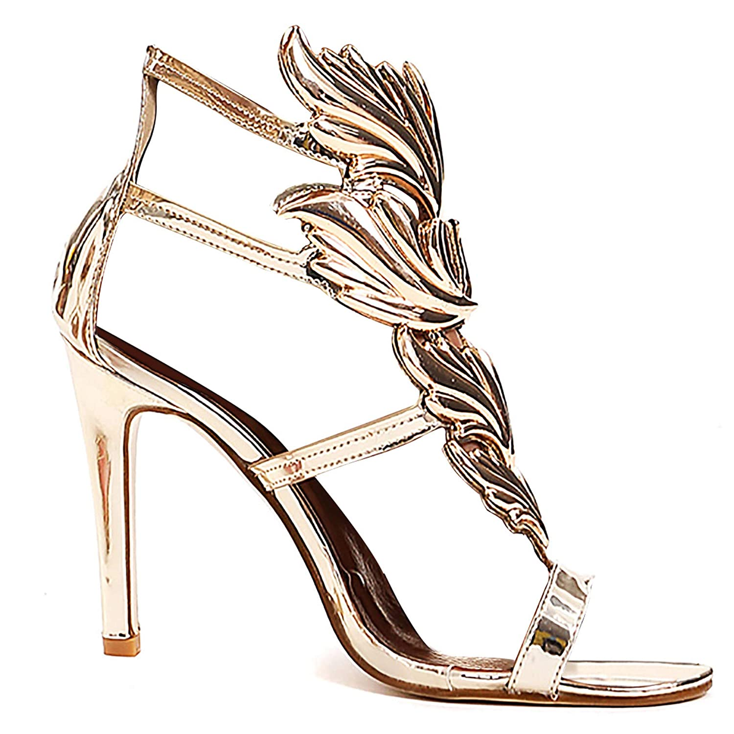 Women's Gold Flame Design High Heel Gladiator Sandal Shoes - DeluxeAdultCostumes.com