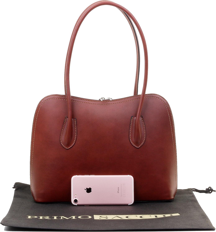 Primo Sacchi Italian Smooth Leather Hand Made Classic Long Handled Handbag Tote Grab Shoulder Bag
