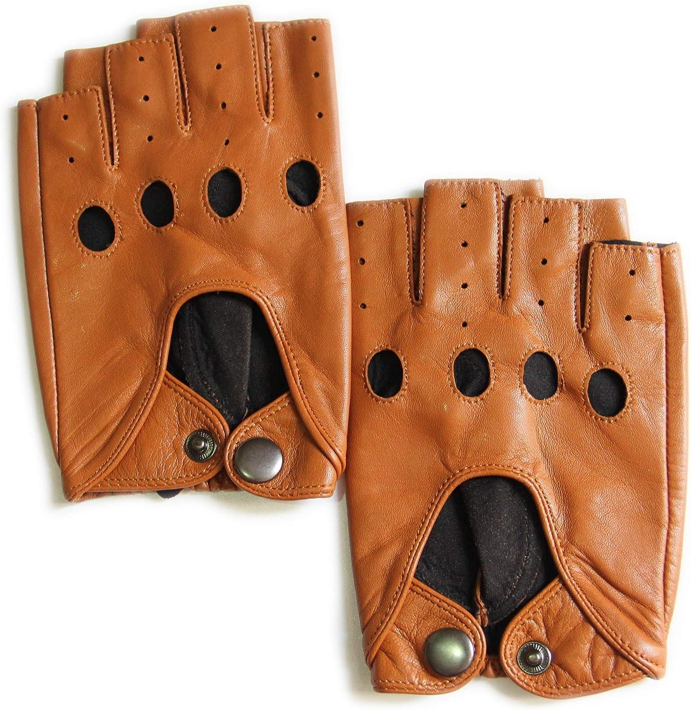 YISEVEN Herren Leder Handschuhe Fingerlos zum Autofahren