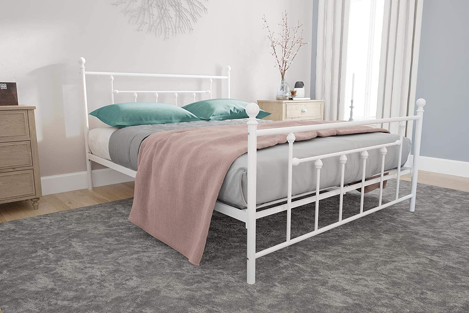 DHP Manila Metal Bed with Victorian Style Headboard and Footboard, Includes Metal Slats, Queen Size, White