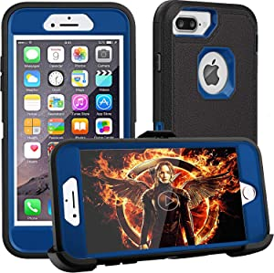FOGEEK iPhone 8 Plus Case,iPhone 7 Plus Case,iPhone 6s Plus Case, Belt-Clip Protective Heavy Duty Kickstand [Shockproof] Cover Compatible for iPhone 8/7/6/6s Plus(Black and Blue)