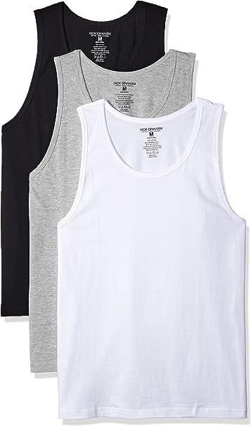 3 Pack Nick Graham Men/'s 100/% Cotton Crew Neck Tank Top Undershirt Medium-XL