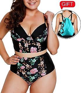 9076c534e021e 2019 Women's Plus Size Swimsuit High Waisted Split Ruffles Push up Halter Bikini  Set