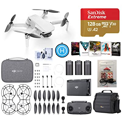 DJI Mavic Mini Fly More Combo Drone FlyCam Quadcopter with 2.7K Camera, Deluxe Bundle with Case, ARC White Strobe, 128GB microSD Card, PC Software Pack, Landing Pad, Cleaning Kit: Electronics