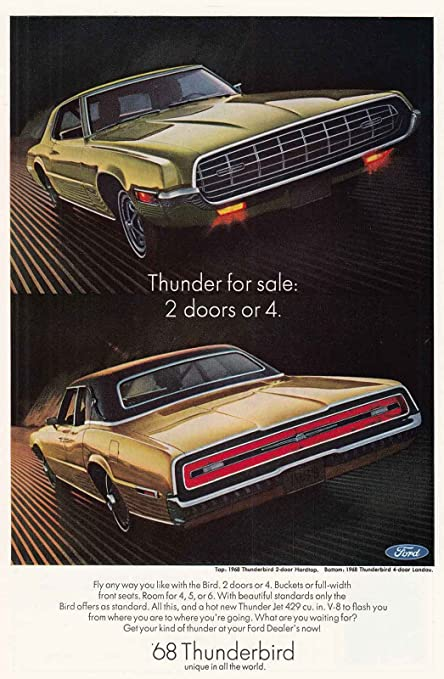 Amazon 1968 Ford Thunderbird Thunder For Sale Ford Print Ad