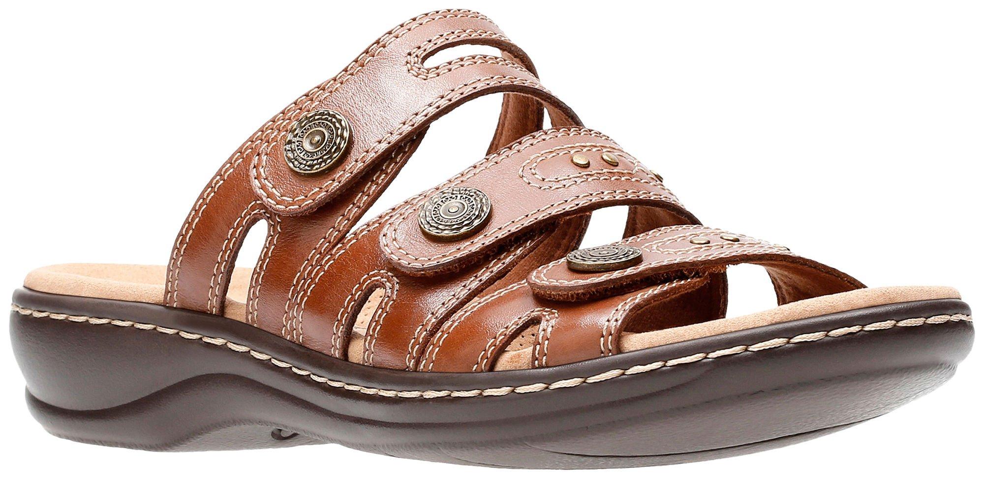 CLARKS New Women's Leisa Lakia Slide Sandal Dark Tan Leather 8.5