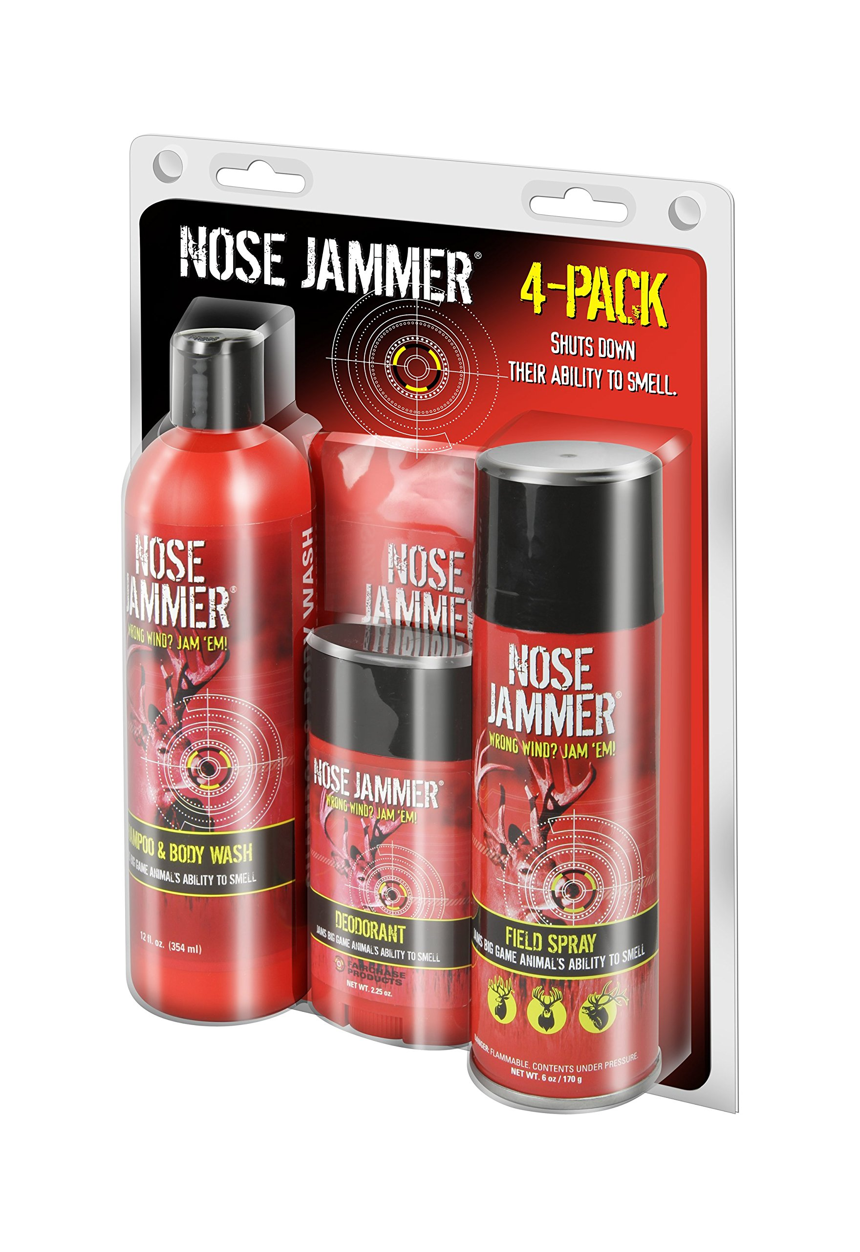 Nose Jammer Natural Scent-Masking Best Value Combination 4-Pack (Field Spray, Deodorant, Wipes, Shampoo/Body Wash)