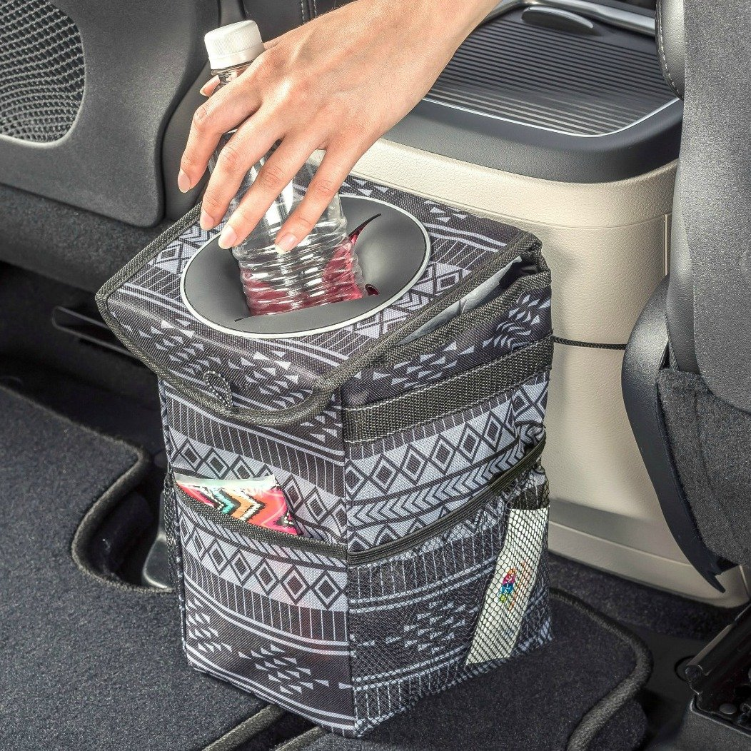 High Road StashAway Console Car Trash Bin with Lid and Storage Pockets (Baja)