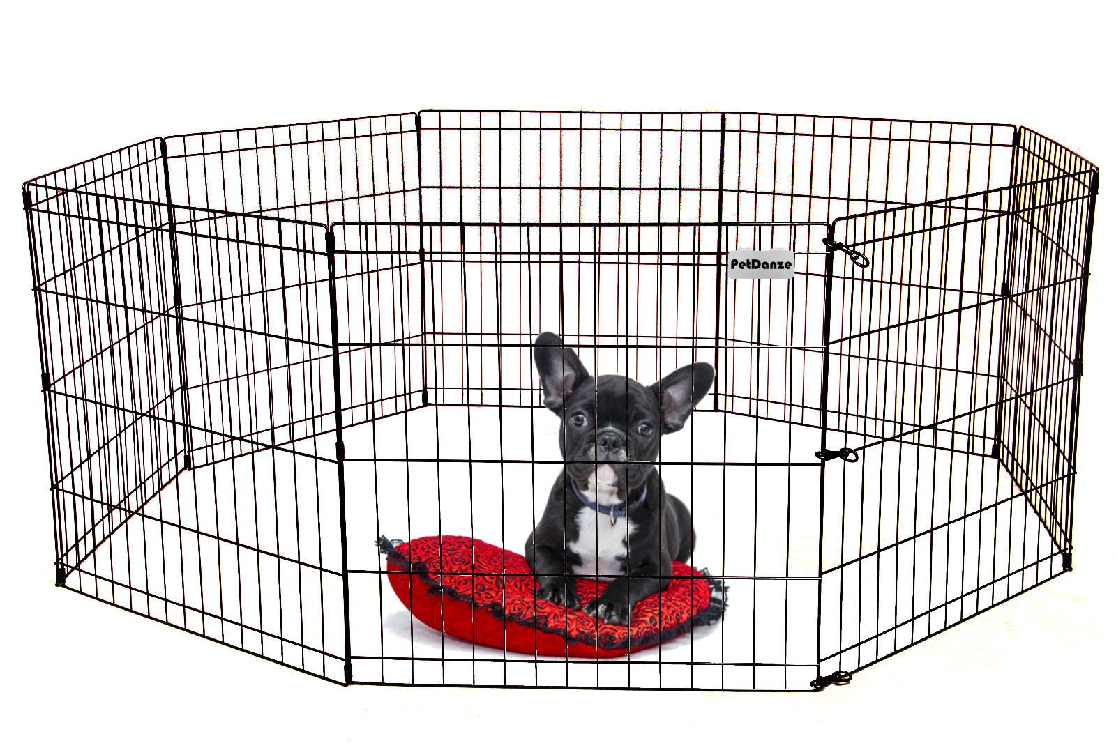 PetDanze Dog Puppy Playpen Pen 24'' Height | Indoor Outdoor Exercise Outside Play Yard | Pet Small Animal Puppies Portable Foldable Fence Enclosures | 8 Panel Metal Wire, Black