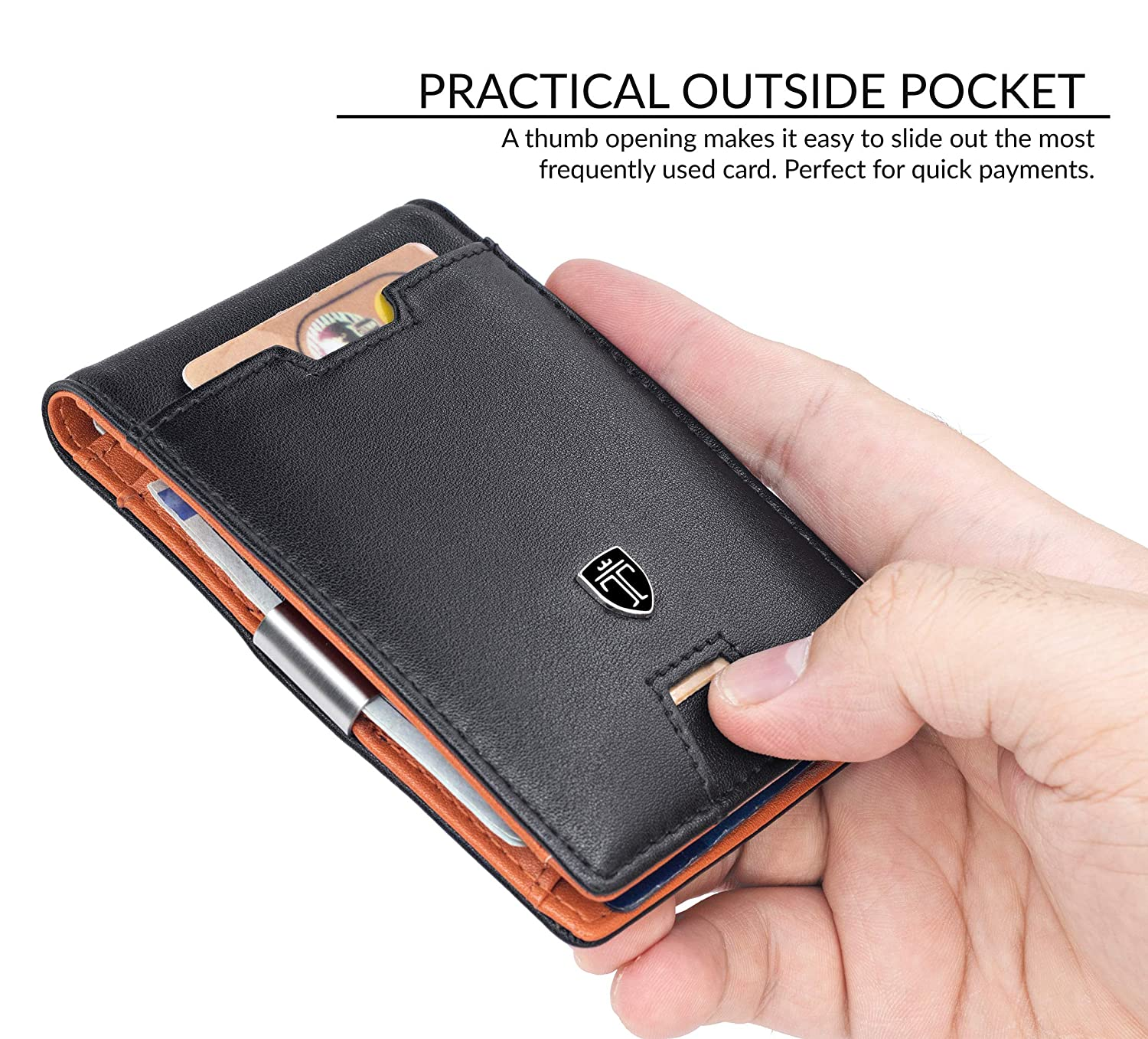 TRAVANDO Mens Wallet Money Clip PHOENIX Front Pocket Wallet Slim Wallet RFID Bifold Credit Card Holder Gifts for Men