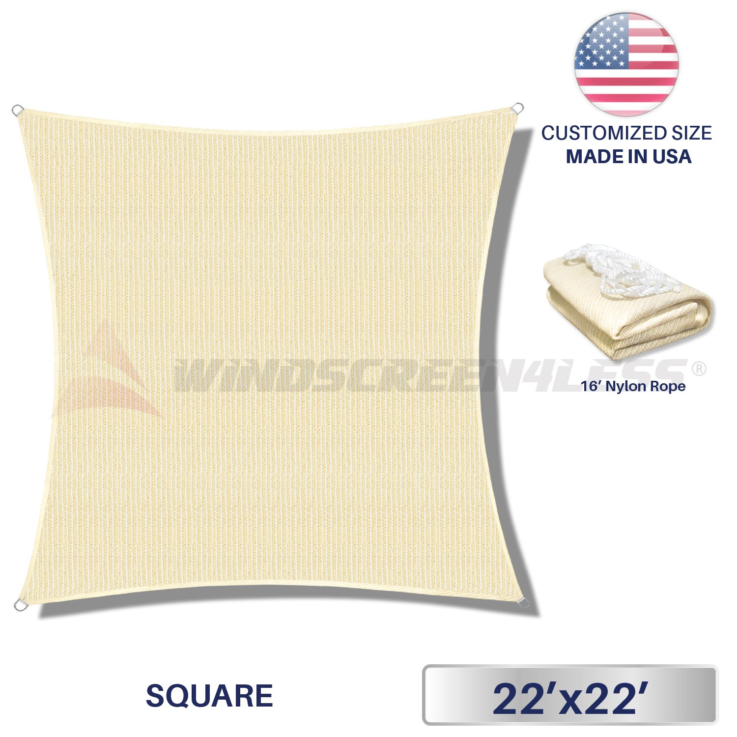 22' x 22' Sun Shade Sail UV Block Fabric Canopy in Beige Sand Square for Patio Garden Customized Size 3 Year Limited Warranty